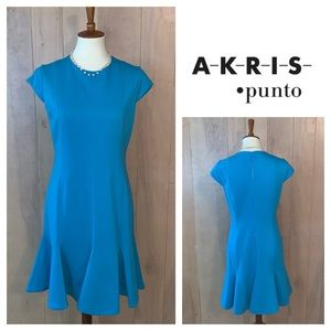 Akris Punto Turquoise Cap Sleeve Fit & Flare Dress